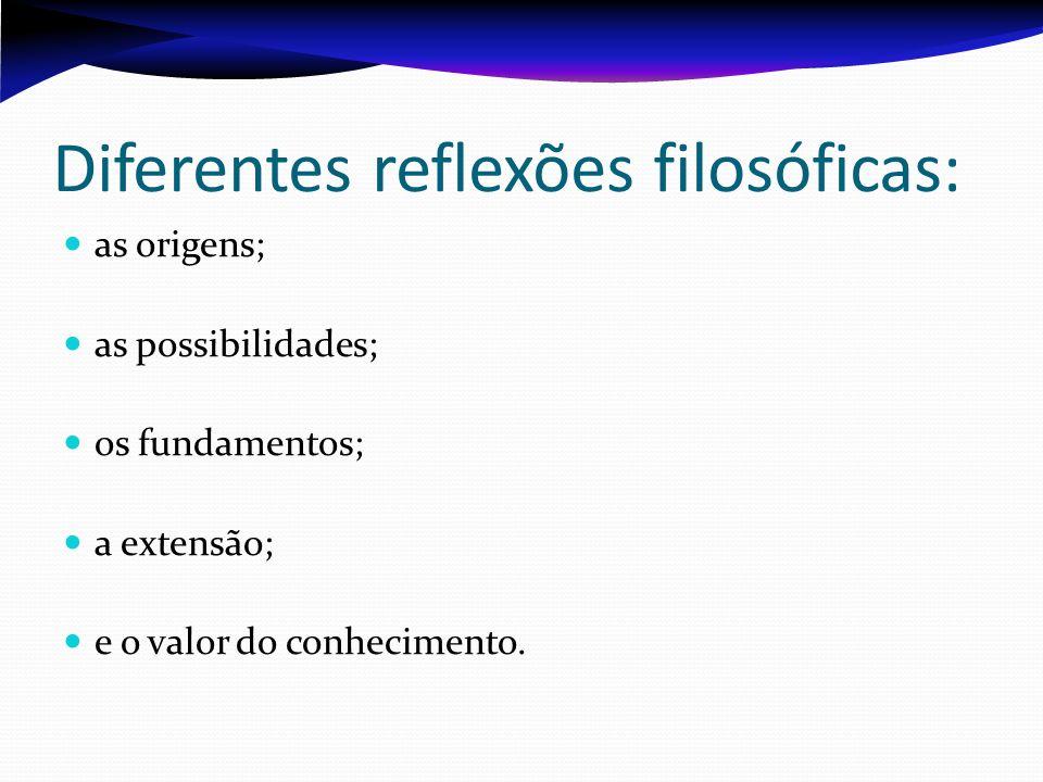 Diferentes reflexões filosóficas: as origens; as possibilidades; os fundamentos; a extensão; e o valor do conhecimento.