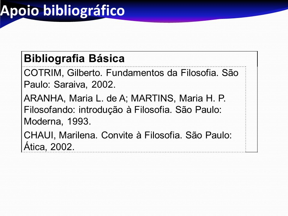 Apoio bibliográfico Bibliografia Básica COTRIM, Gilberto. Fundamentos da Filosofia. São Paulo: Saraiva, 2002. ARANHA, Maria L. de A; MARTINS, Maria H.