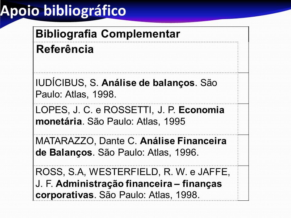 Apoio bibliográfico Bibliografia Complementar Referência IUDÍCIBUS, S. Análise de balanços. São Paulo: Atlas, 1998. LOPES, J. C. e ROSSETTI, J. P. Eco