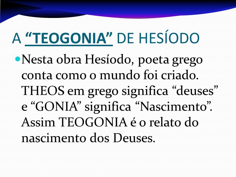 A TEOGONIA DE HESÍODO Nesta obra Hesíodo, poeta grego conta como o mundo foi criado. THEOS em grego significa deuses e GONIA significa Nascimento. Ass