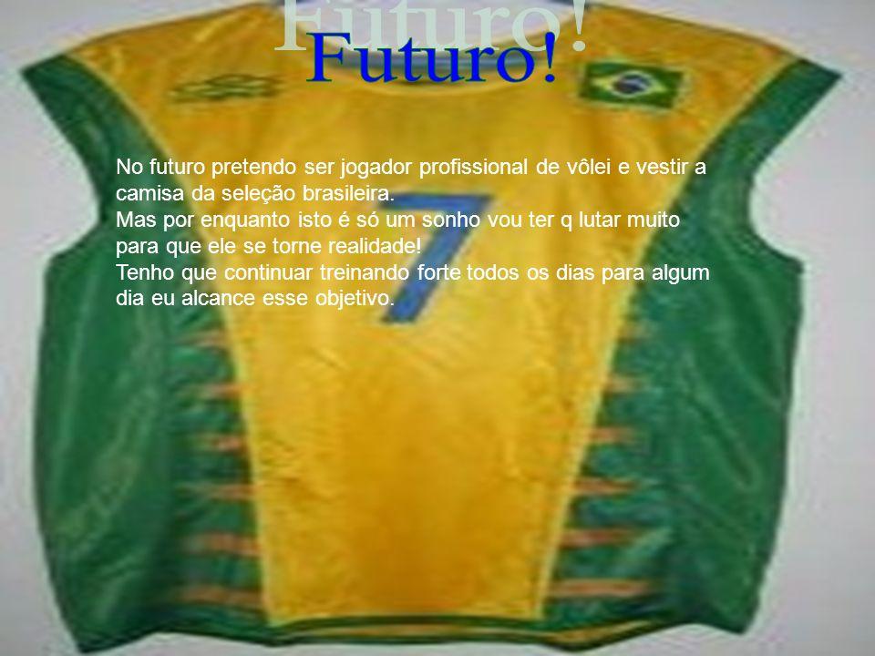 No futuro pretendo ser jogador profissional de vôlei e vestir a camisa da seleção brasileira. Mas por enquanto isto é só um sonho vou ter q lutar muit