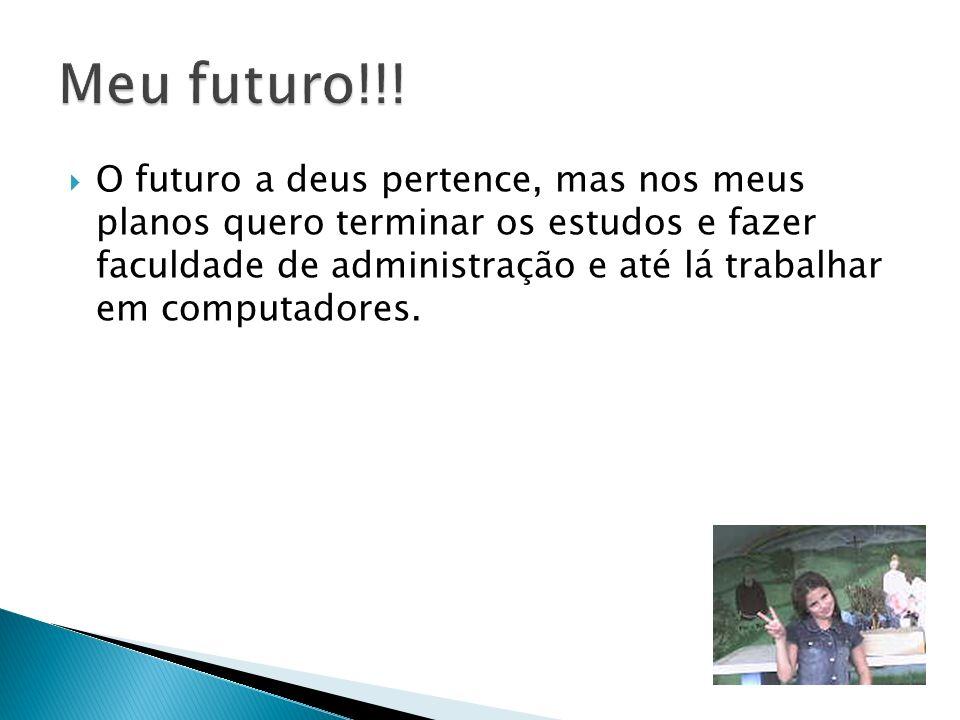 O futuro a deus pertence, mas nos meus planos quero terminar os estudos e fazer faculdade de administração e até lá trabalhar em computadores.