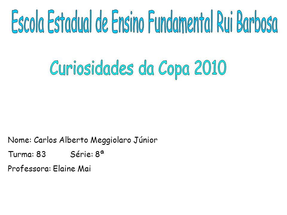 Nome: Carlos Alberto Meggiolaro Júnior Turma: 83 Série: 8ª Professora: Elaine Mai