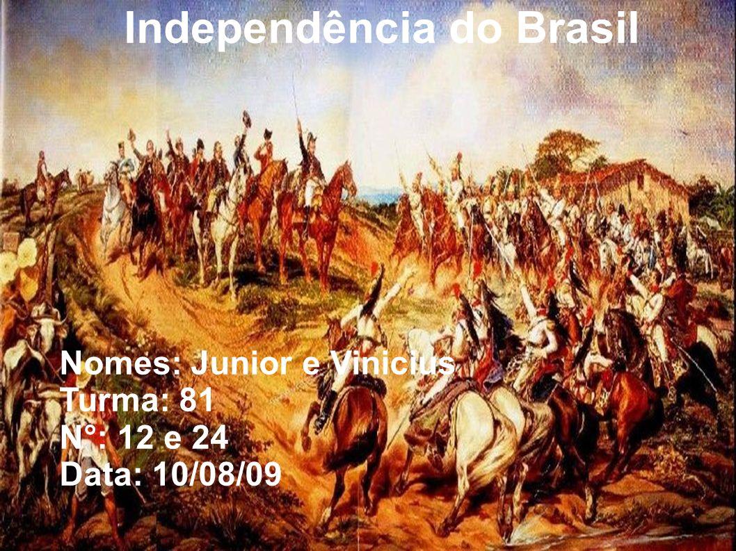 Independência do Brasil Nomes: Junior e Vinicius Turma: 81 N°: 12 e 24 Data: 10/08/09