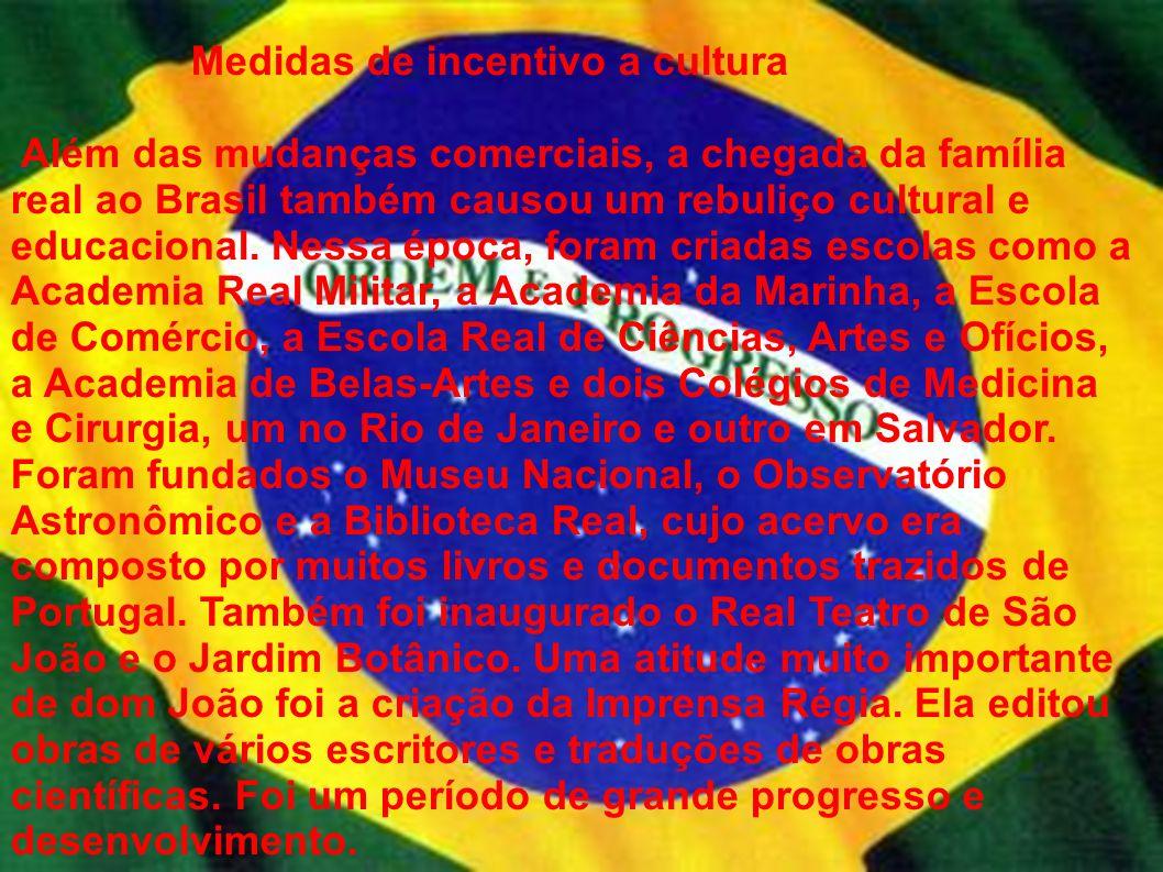 Medidas de incentivo a cultura Além das mudanças comerciais, a chegada da família real ao Brasil também causou um rebuliço cultural e educacional. Nes