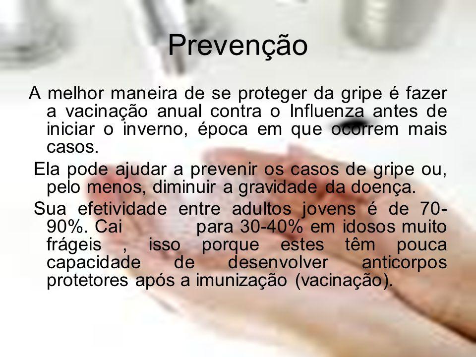 Prevenção A melhor maneira de se proteger da gripe é fazer a vacinação anual contra o Influenza antes de iniciar o inverno, época em que ocorrem mais