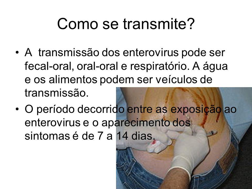 Como se transmite? A transmissão dos enterovirus pode ser fecal-oral, oral-oral e respiratório. A água e os alimentos podem ser veículos de transmissã
