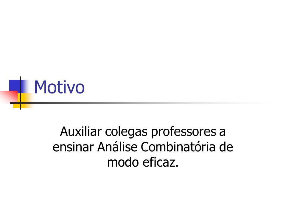 Motivo Auxiliar colegas professores a ensinar Análise Combinatória de modo eficaz.