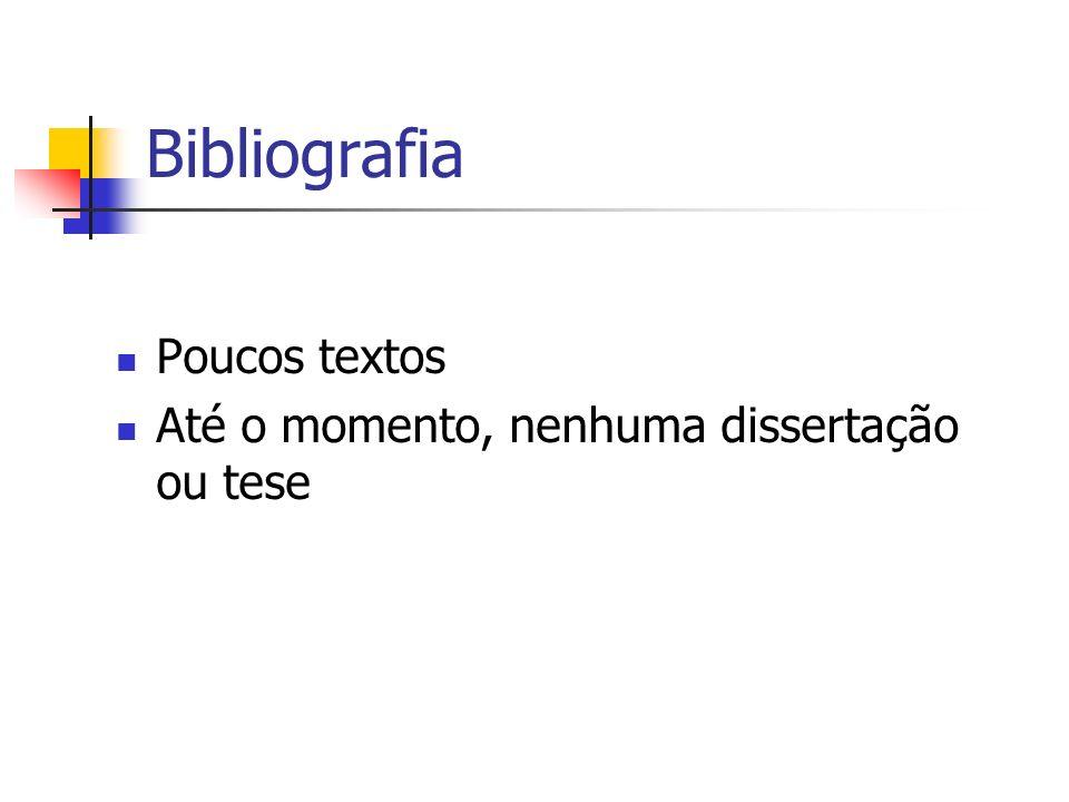 Bibliografia Poucos textos Até o momento, nenhuma dissertação ou tese
