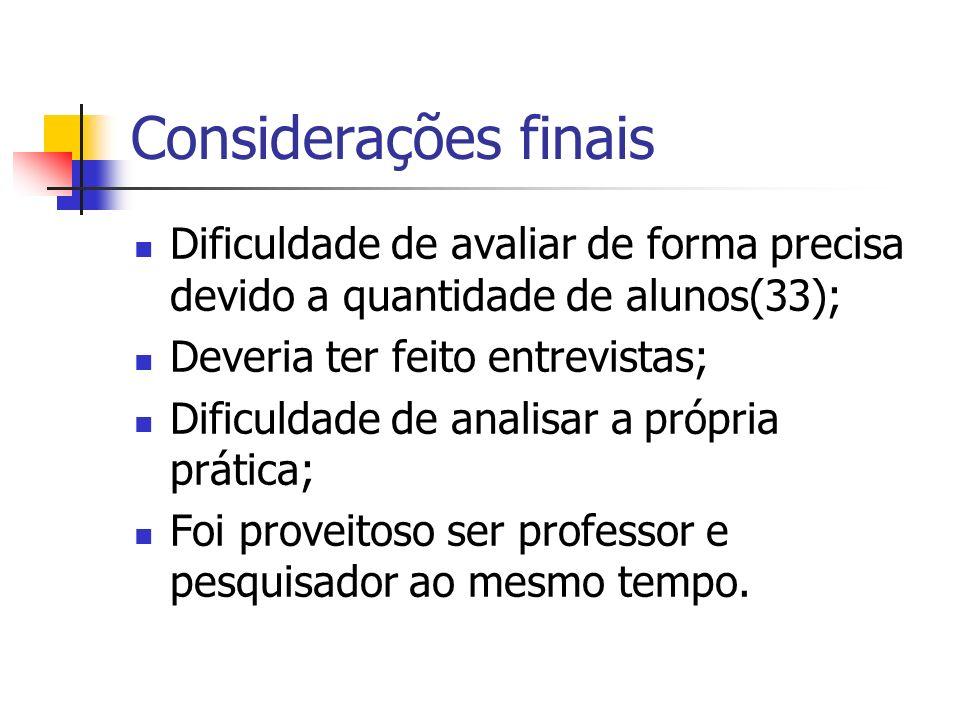 Considerações finais Dificuldade de avaliar de forma precisa devido a quantidade de alunos(33); Deveria ter feito entrevistas; Dificuldade de analisar