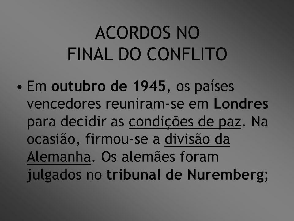 ACORDOS NO FINAL DO CONFLITO Em outubro de 1945, os países vencedores reuniram-se em Londres para decidir as condições de paz. Na ocasião, firmou-se a