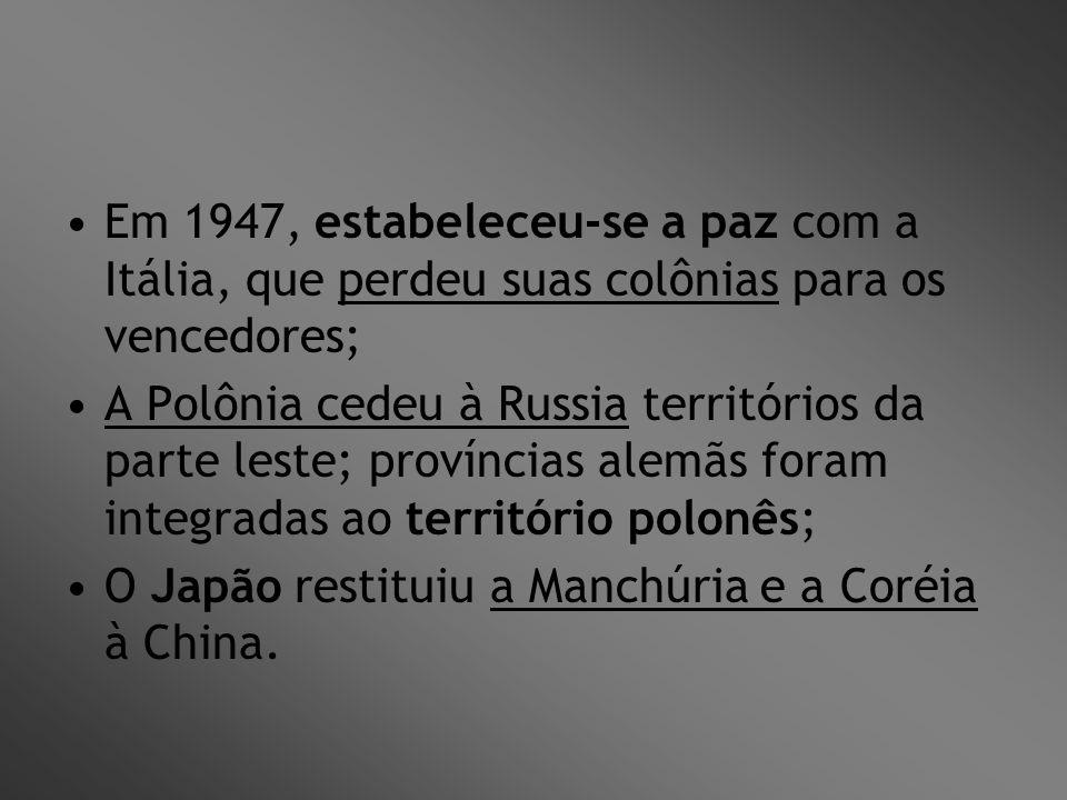 Em 1947, estabeleceu-se a paz com a Itália, que perdeu suas colônias para os vencedores; A Polônia cedeu à Russia territórios da parte leste; provínci