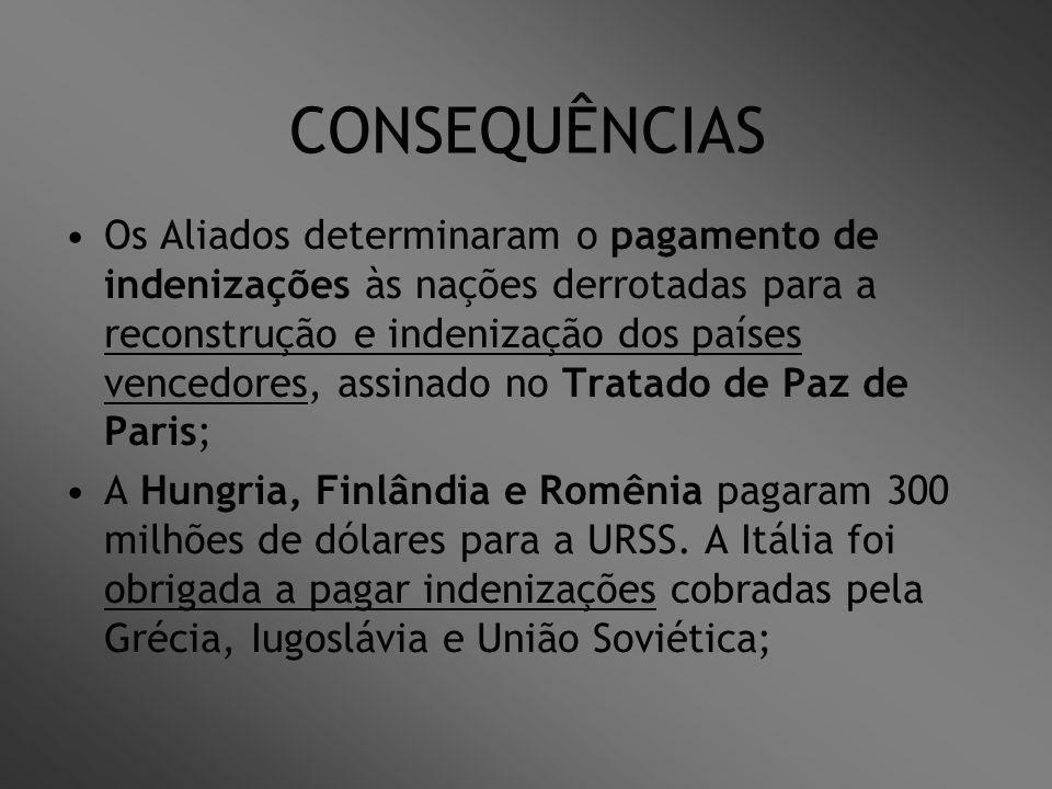 CONSEQUÊNCIAS Os Aliados determinaram o pagamento de indenizações às nações derrotadas para a reconstrução e indenização dos países vencedores, assina
