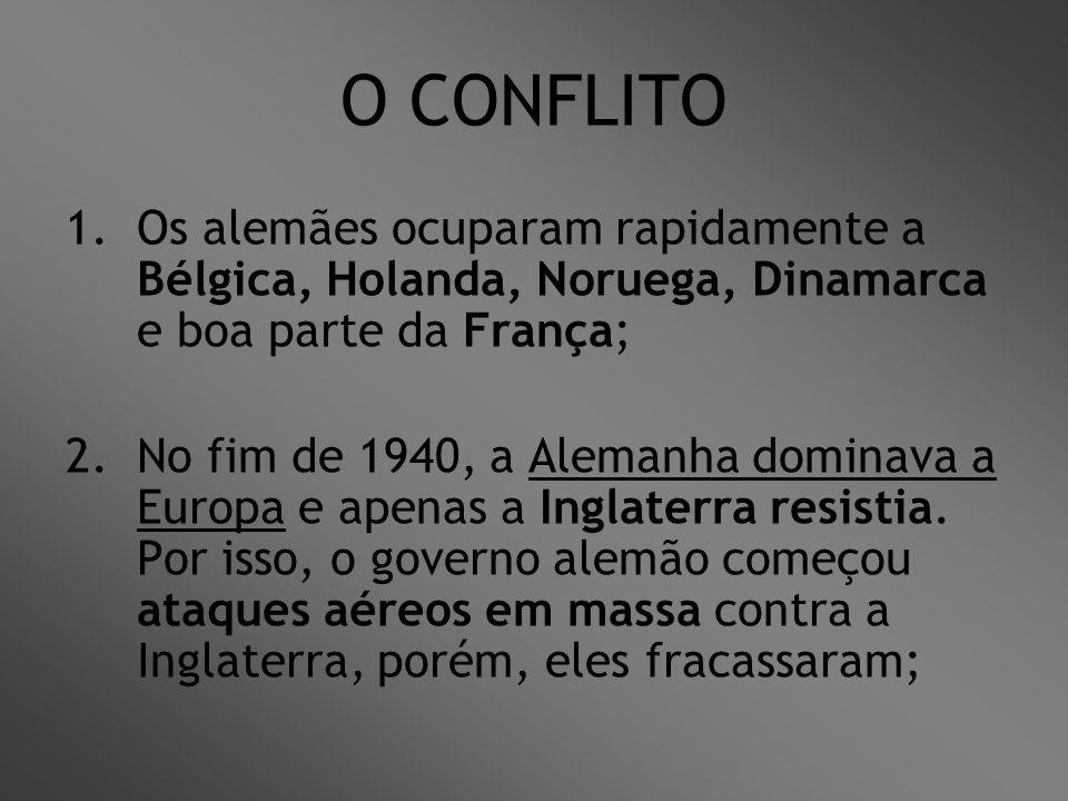O CONFLITO 1.Os alemães ocuparam rapidamente a Bélgica, Holanda, Noruega, Dinamarca e boa parte da França; 2.No fim de 1940, a Alemanha dominava a Eur