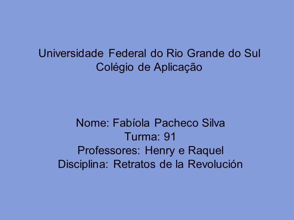 Universidade Federal do Rio Grande do Sul Colégio de Aplicação Nome: Fabíola Pacheco Silva Turma: 91 Professores: Henry e Raquel Disciplina: Retratos de la Revolución
