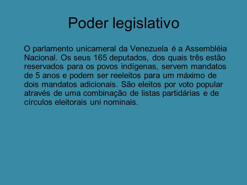 Poder legislativo O parlamento unicameral da Venezuela é a Assembléia Nacional.