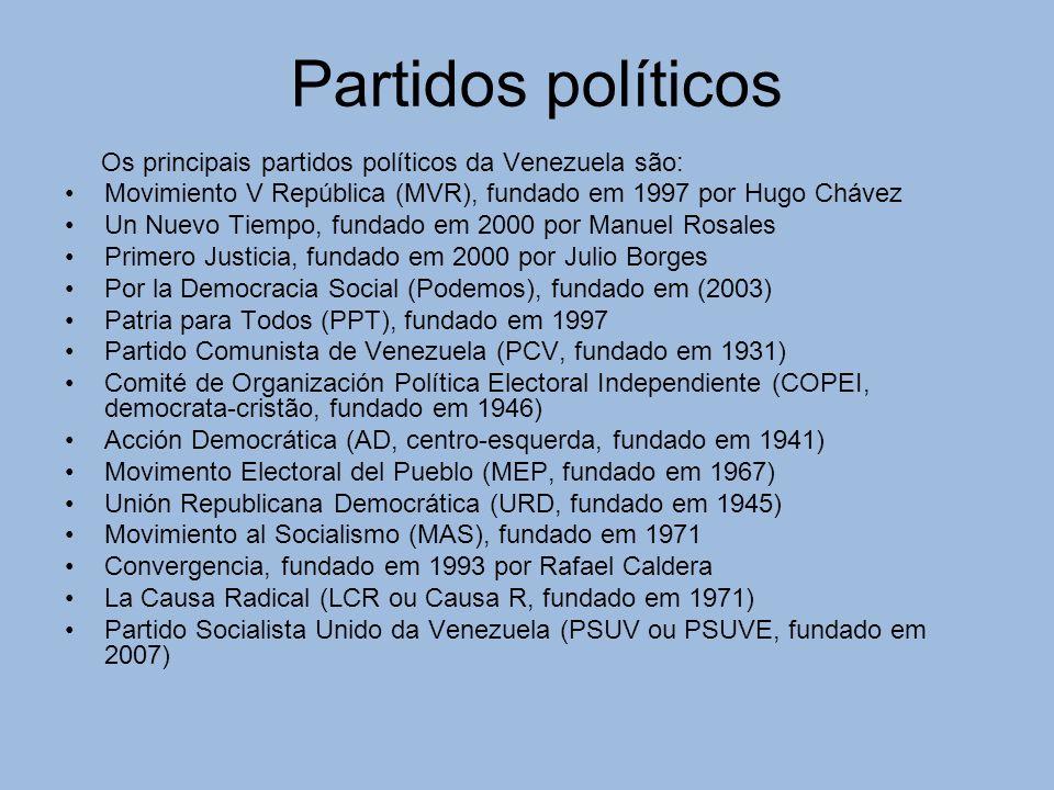 Partidos políticos Os principais partidos políticos da Venezuela são: Movimiento V República (MVR), fundado em 1997 por Hugo Chávez Un Nuevo Tiempo, fundado em 2000 por Manuel Rosales Primero Justicia, fundado em 2000 por Julio Borges Por la Democracia Social (Podemos), fundado em (2003) Patria para Todos (PPT), fundado em 1997 Partido Comunista de Venezuela (PCV, fundado em 1931) Comité de Organización Política Electoral Independiente (COPEI, democrata-cristão, fundado em 1946) Acción Democrática (AD, centro-esquerda, fundado em 1941) Movimento Electoral del Pueblo (MEP, fundado em 1967) Unión Republicana Democrática (URD, fundado em 1945) Movimiento al Socialismo (MAS), fundado em 1971 Convergencia, fundado em 1993 por Rafael Caldera La Causa Radical (LCR ou Causa R, fundado em 1971) Partido Socialista Unido da Venezuela (PSUV ou PSUVE, fundado em 2007)