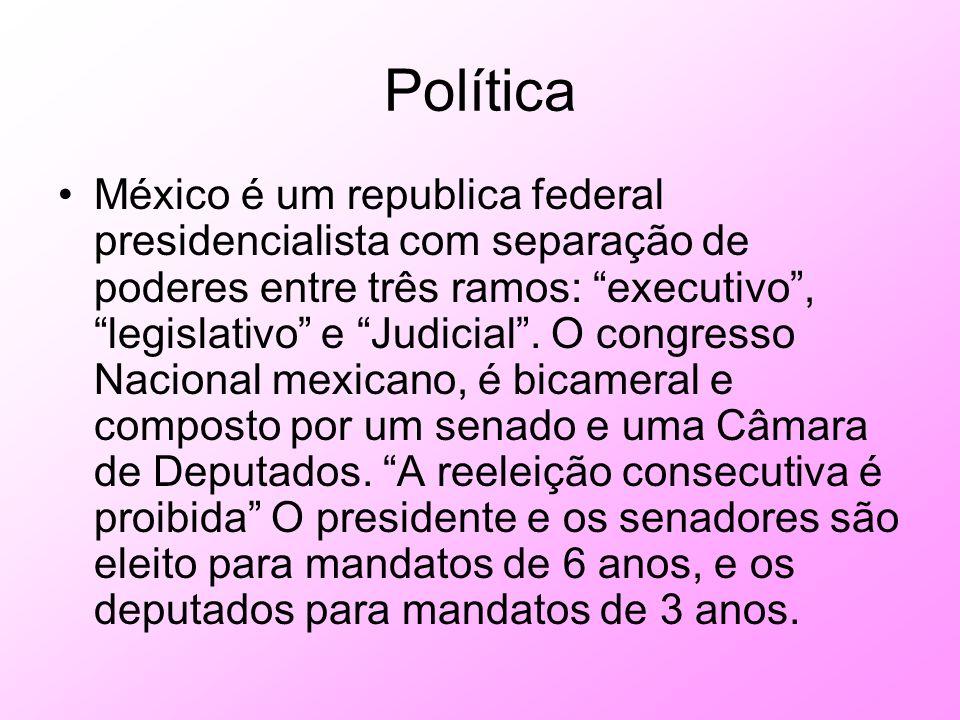 Política México é um republica federal presidencialista com separação de poderes entre três ramos: executivo, legislativo e Judicial. O congresso Naci