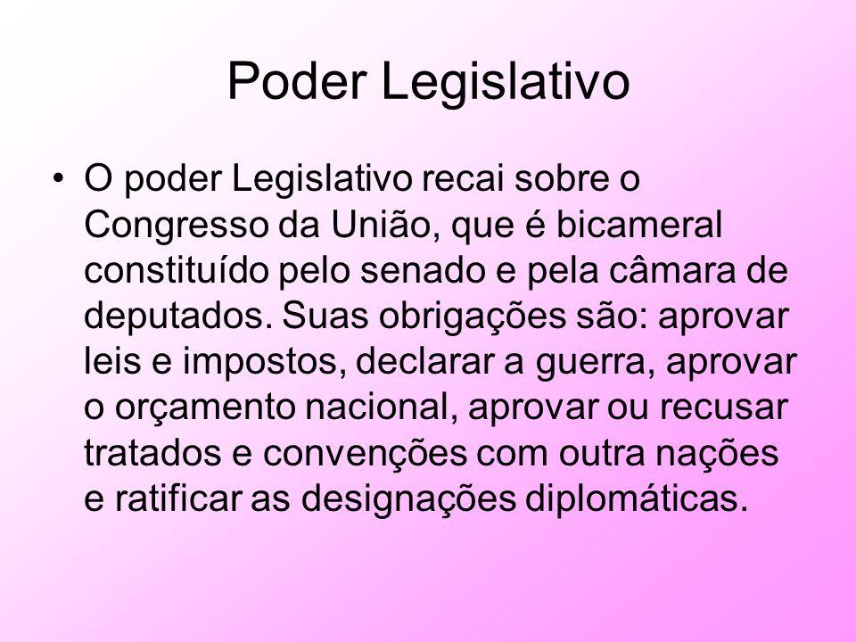 Poder Legislativo O poder Legislativo recai sobre o Congresso da União, que é bicameral constituído pelo senado e pela câmara de deputados. Suas obrig