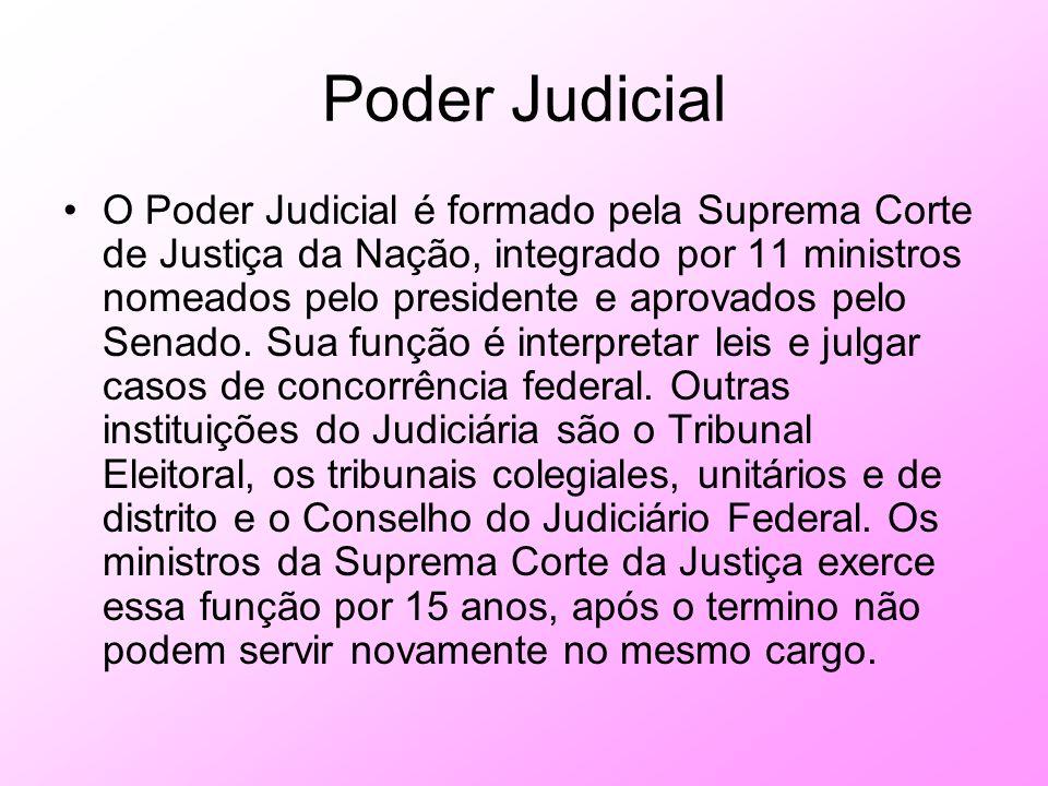 Poder Judicial O Poder Judicial é formado pela Suprema Corte de Justiça da Nação, integrado por 11 ministros nomeados pelo presidente e aprovados pelo