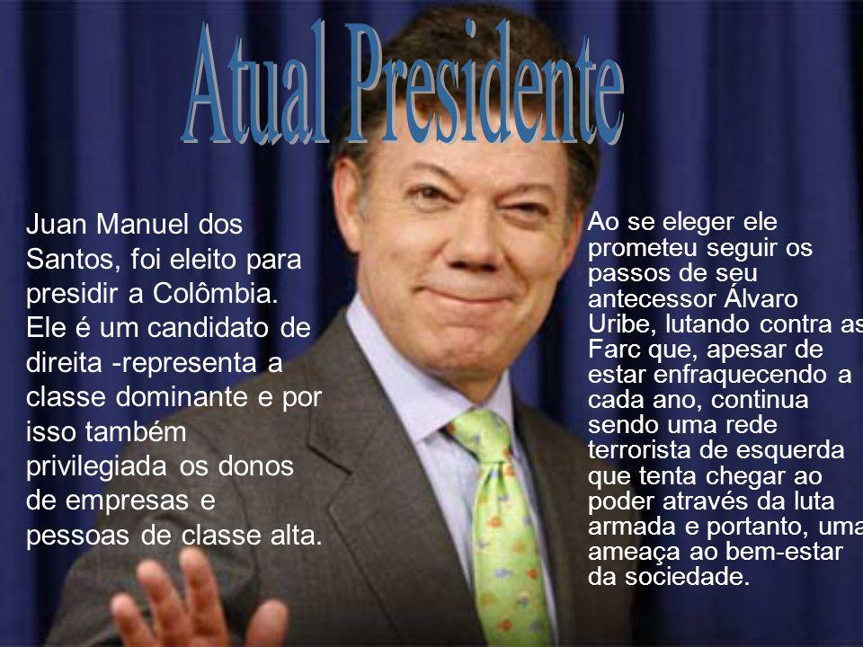Ao se eleger ele prometeu seguir os passos de seu antecessor Álvaro Uribe, lutando contra as Farc que, apesar de estar enfraquecendo a cada ano, conti