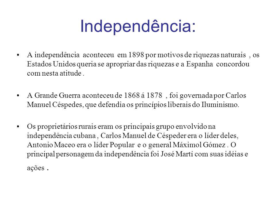 Em 1898,cuba se tornou uma nação independente com a ajuda de outras nações americanas.