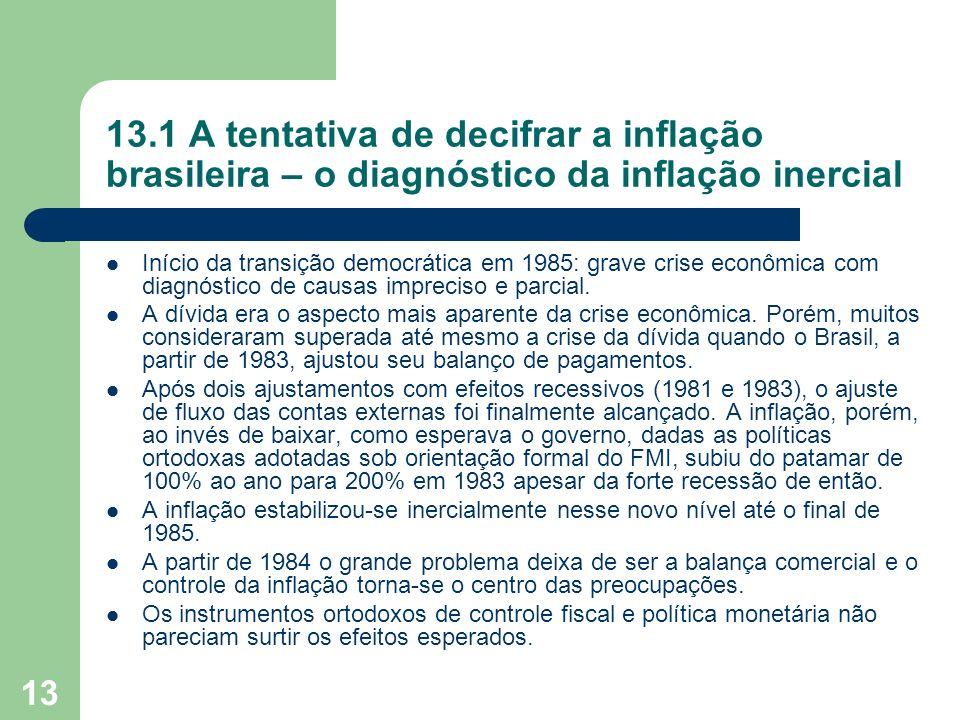 13 13.1 A tentativa de decifrar a inflação brasileira – o diagnóstico da inflação inercial Início da transição democrática em 1985: grave crise econôm