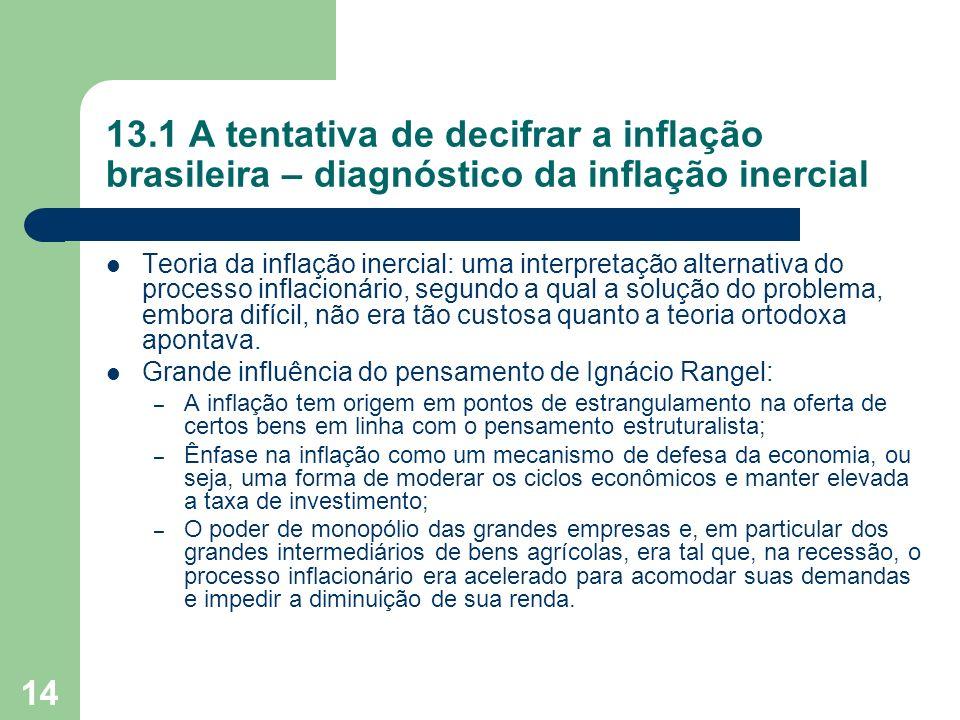 14 13.1 A tentativa de decifrar a inflação brasileira – diagnóstico da inflação inercial Teoria da inflação inercial: uma interpretação alternativa do