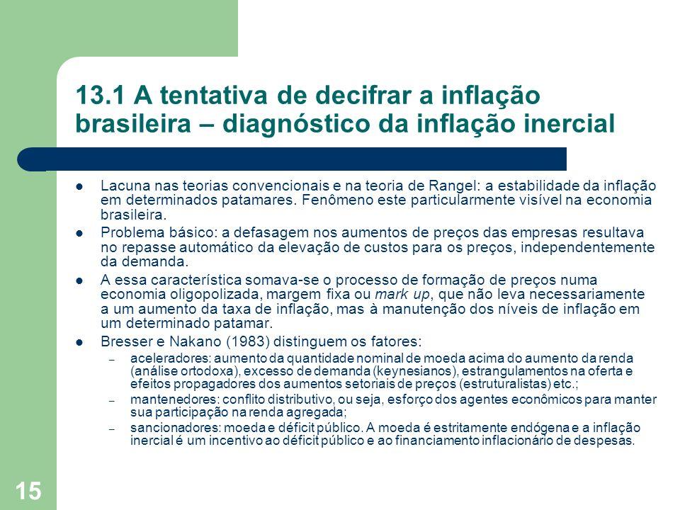 15 13.1 A tentativa de decifrar a inflação brasileira – diagnóstico da inflação inercial Lacuna nas teorias convencionais e na teoria de Rangel: a est