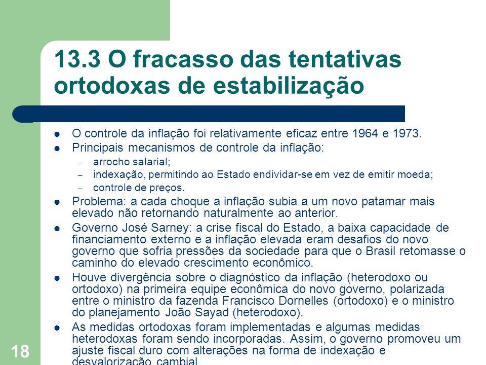 18 13.3 O fracasso das tentativas ortodoxas de estabilização O controle da inflação foi relativamente eficaz entre 1964 e 1973. Principais mecanismos