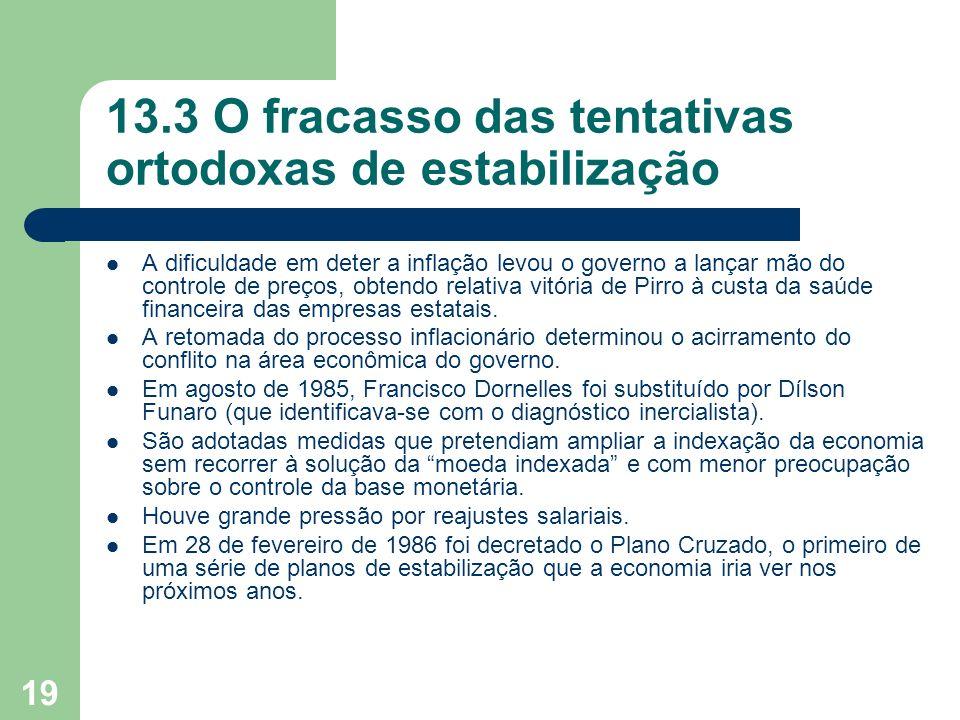 19 13.3 O fracasso das tentativas ortodoxas de estabilização A dificuldade em deter a inflação levou o governo a lançar mão do controle de preços, obt