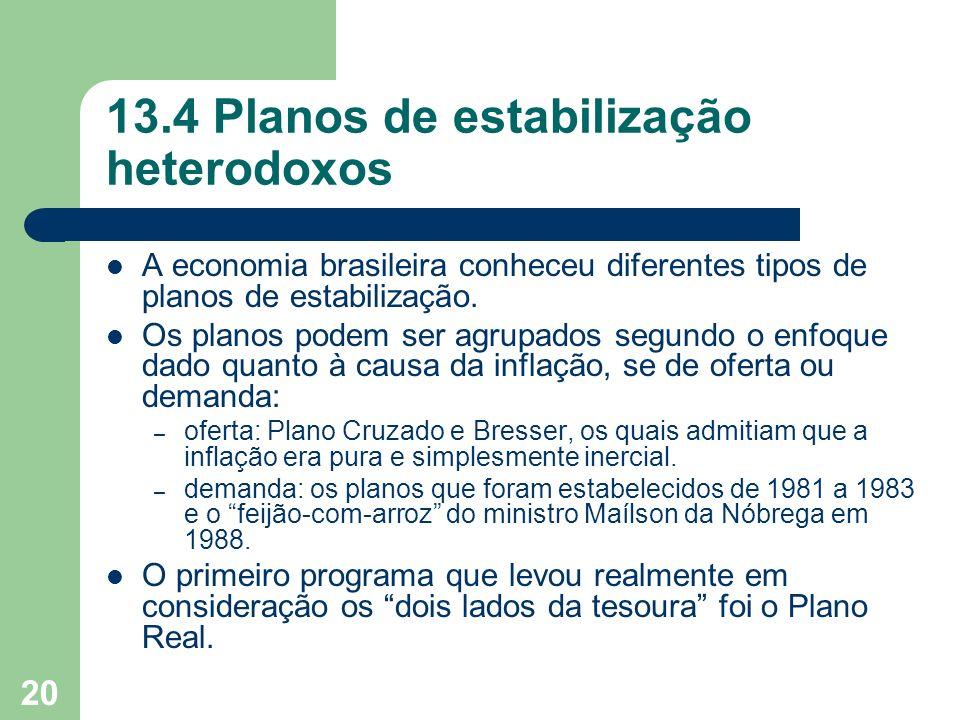 20 13.4 Planos de estabilização heterodoxos A economia brasileira conheceu diferentes tipos de planos de estabilização. Os planos podem ser agrupados