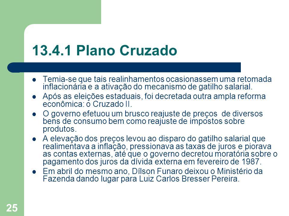 25 13.4.1 Plano Cruzado Temia-se que tais realinhamentos ocasionassem uma retomada inflacionária e a ativação do mecanismo de gatilho salarial. Após a