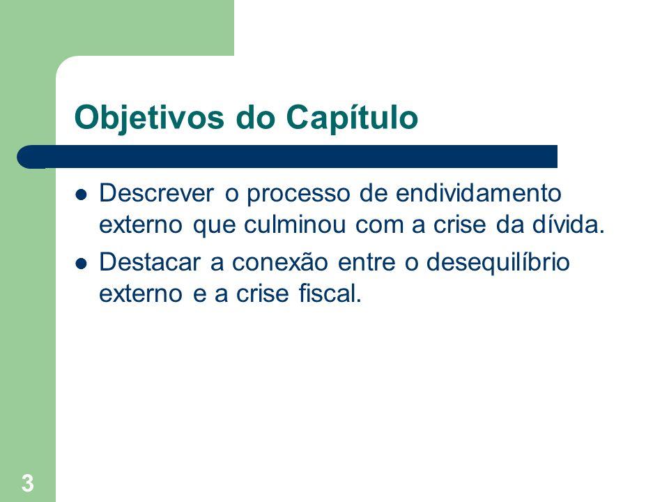 3 Objetivos do Capítulo Descrever o processo de endividamento externo que culminou com a crise da dívida. Destacar a conexão entre o desequilíbrio ext