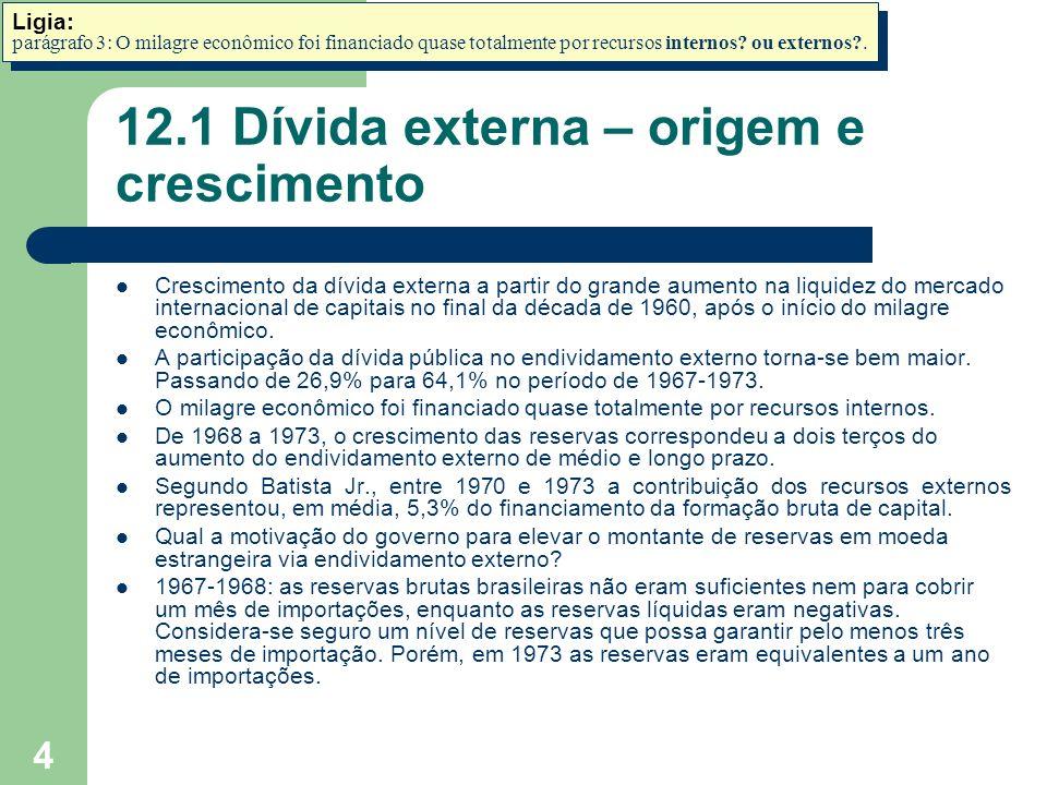 5 12.1 Dívida externa – origem e crescimento A manutenção de um nível tão elevado de reservas tem um custo equivalente à diferença entre o custo do endividamento e a receita auferida com as aplicações das reservas.