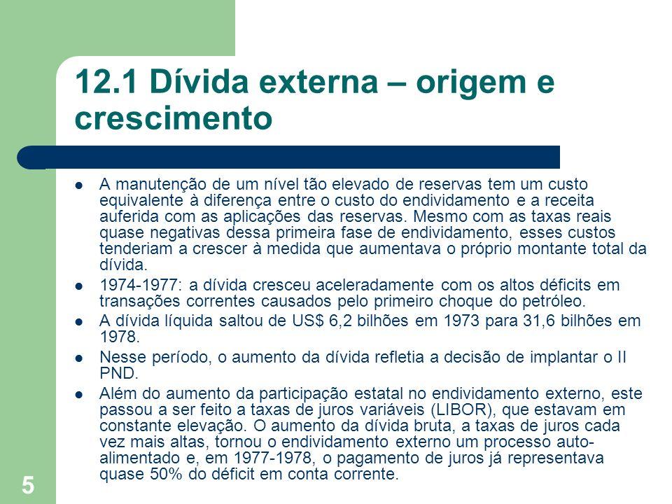5 12.1 Dívida externa – origem e crescimento A manutenção de um nível tão elevado de reservas tem um custo equivalente à diferença entre o custo do en