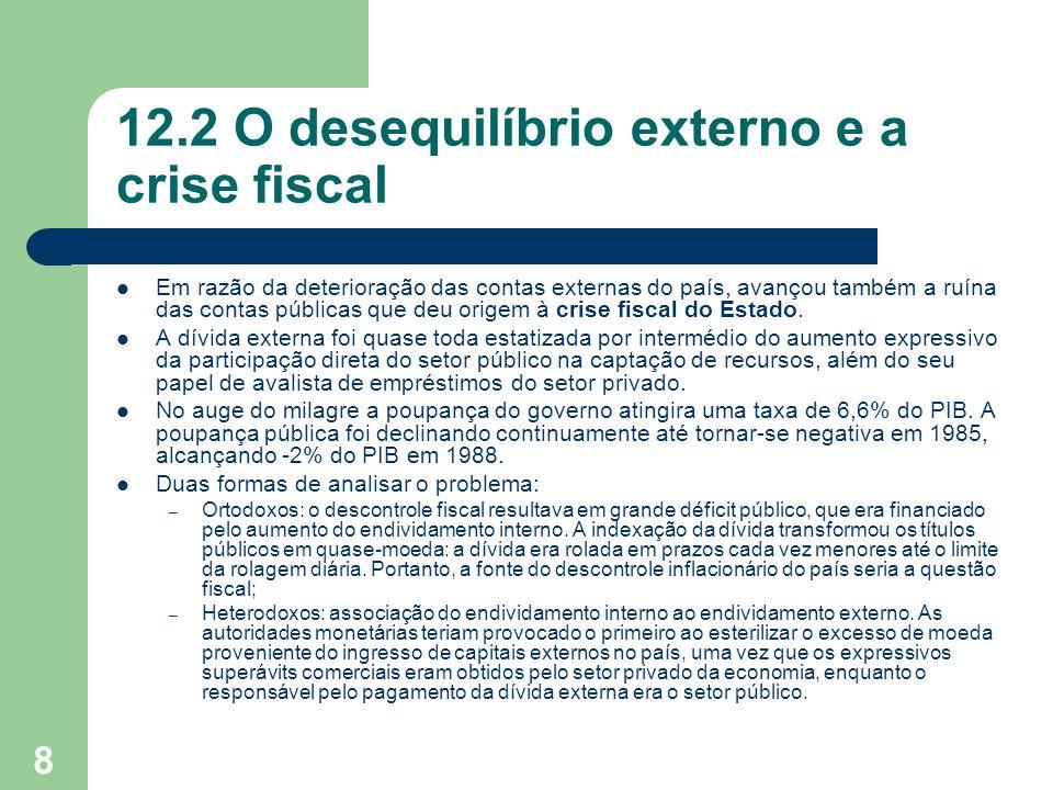 8 12.2 O desequilíbrio externo e a crise fiscal Em razão da deterioração das contas externas do país, avançou também a ruína das contas públicas que d
