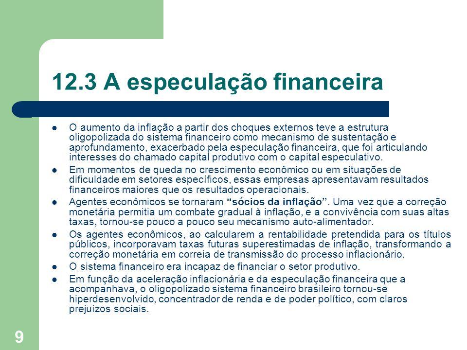 9 12.3 A especulação financeira O aumento da inflação a partir dos choques externos teve a estrutura oligopolizada do sistema financeiro como mecanism