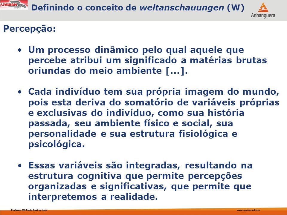 Capa da Obra A distorção perceptual como uma característica da percepção humana, que se refere a um modo de codificação da informação que a torna mais congruente com as crenças prévias da pessoa; interligando o conceito original de Weltanschauungen (W) ao conceito de percepção retirado da psicologia, pode-se afirmar que: W é a estrutura mental que permite ao homem interpretar o mundo à sua volta; O conceito aplicado ao mundo físico: A percepção de uma cadeira está relacionada a uma estrutura mental que possibilita, ao enxergá-la, interpretá-la como cadeira; Já no âmbito das ideias, a dificuldade para entendê-lo é um pouco maior.