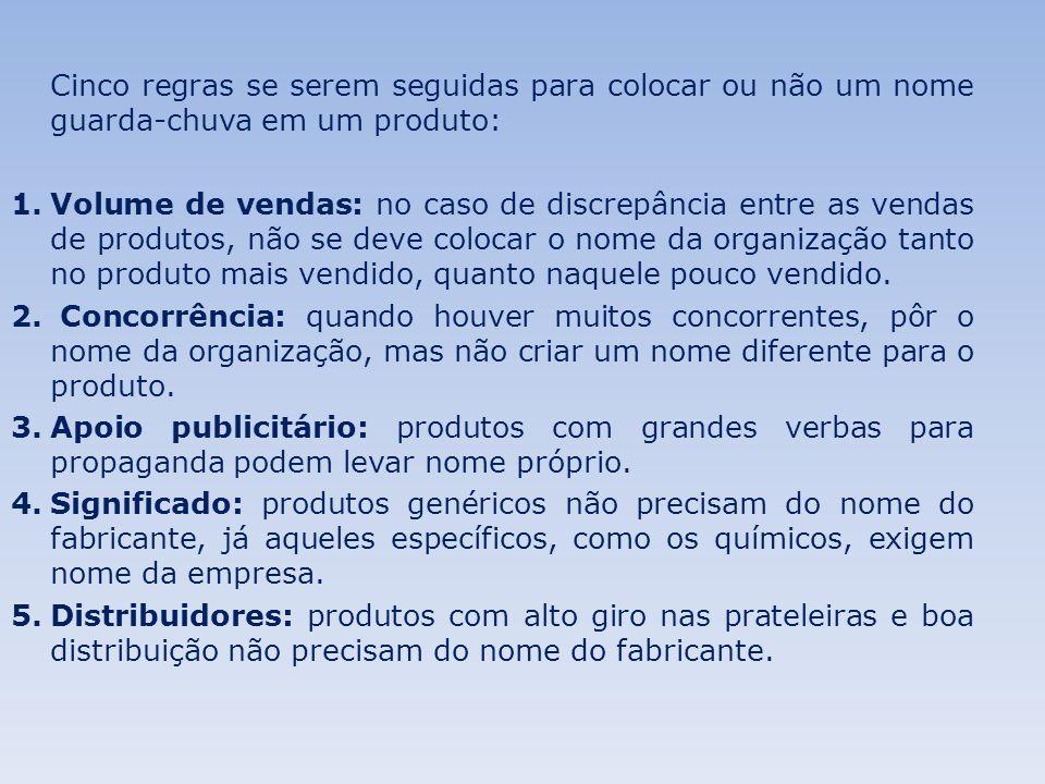 Cinco regras se serem seguidas para colocar ou não um nome guarda-chuva em um produto: 1.Volume de vendas: no caso de discrepância entre as vendas de produtos, não se deve colocar o nome da organização tanto no produto mais vendido, quanto naquele pouco vendido.