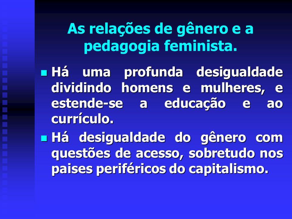 As relações de gênero e a pedagogia feminista. Há uma profunda desigualdade dividindo homens e mulheres, e estende-se a educação e ao currículo. Há um