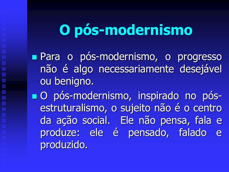 O pós-modernismo Para o pós-modernismo, o progresso não é algo necessariamente desejável ou benigno. Para o pós-modernismo, o progresso não é algo nec