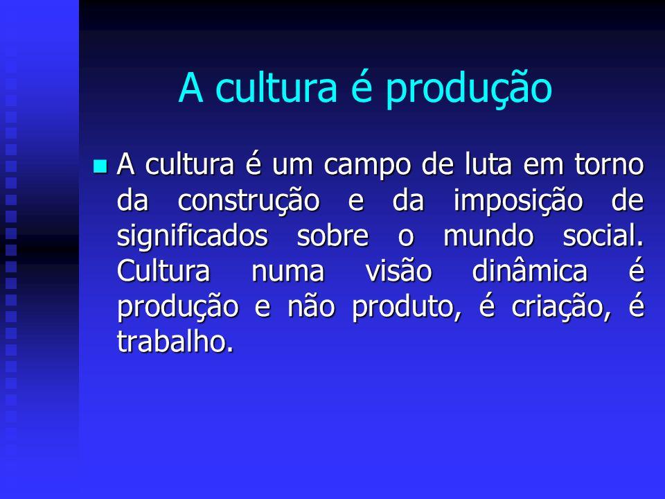 A cultura é produção A cultura é um campo de luta em torno da construção e da imposição de significados sobre o mundo social. Cultura numa visão dinâm