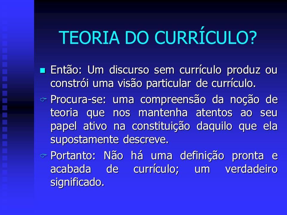 Tentativa de expressar idéias s/ currículo da forma como ele é definido por diferentes autores e teorias A questão da definição de currículo é: Menos ontológica: O que é currículo.