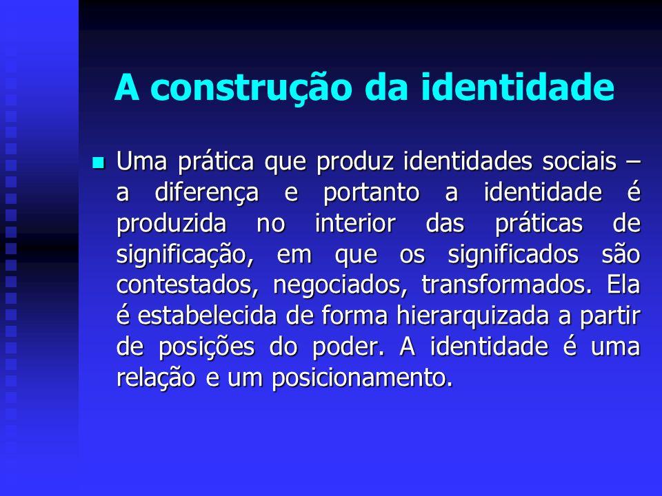 A construção da identidade Uma prática que produz identidades sociais – a diferença e portanto a identidade é produzida no interior das práticas de si