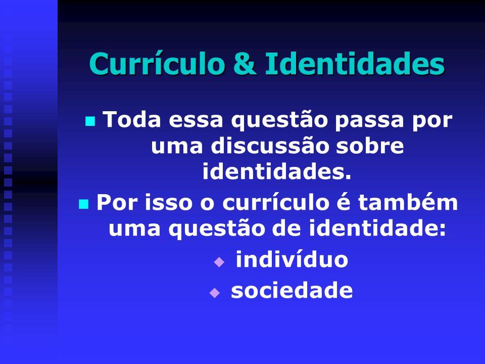TEORIAS DE CURRÍCULO TRADICIONAIS Ensino; Aprendizagem; Metodologia; Avaliação; Didática; Organização; Planejamento; Objetivos CRÍTICAS Ideologia; Reprodução Cultural e Social; Poder; Classe Social; Capitalismo; Relações Sociais de Produção; Conscientização; Emancipação e Libertação; Currículo Oculto e Resistência PÓS-CRÍTICAS Identidade, Alteridade, Diferença, Subjetividade, Significação e Discurso; Saber-Poder; Representação; Cultura; Gênero, Raça, Etnia, Sexualidade, Multiculturalismo