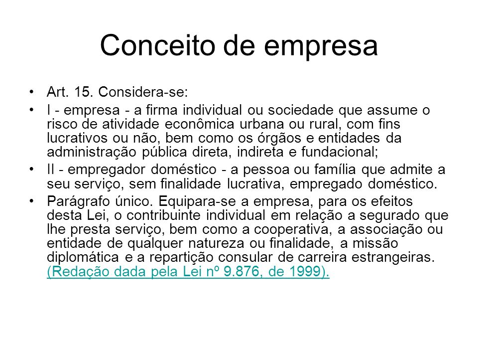 Conceito de empresa Art.15.