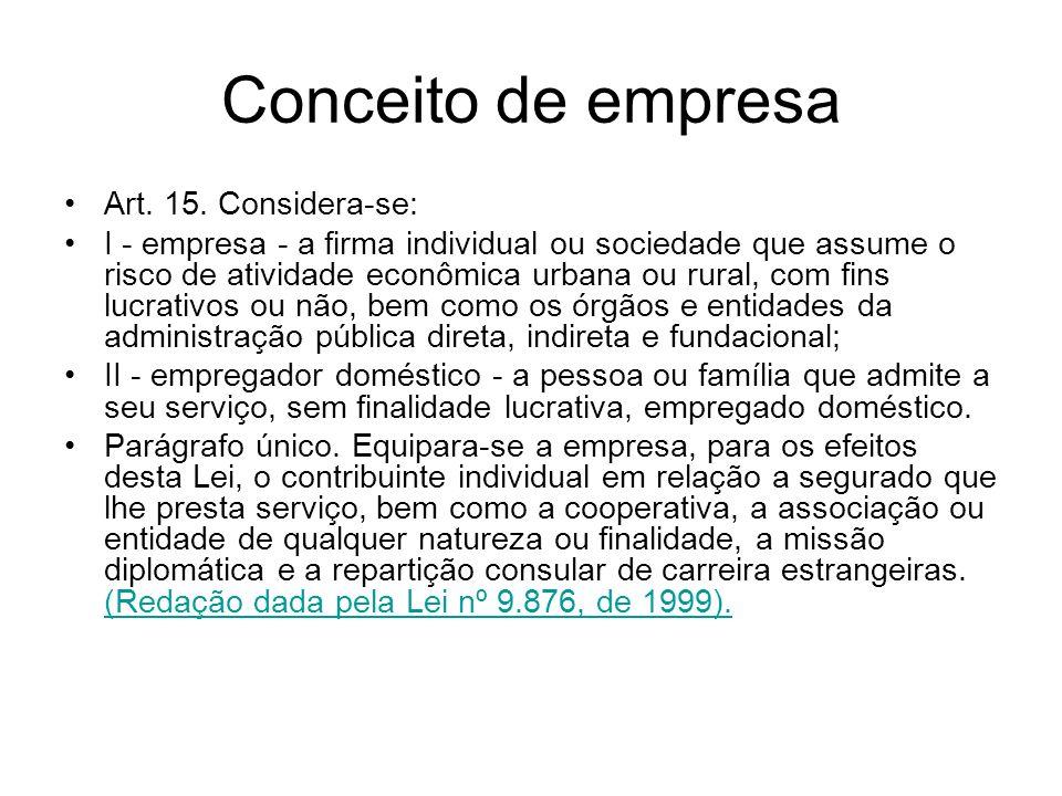 Conceito de empresa Art. 15. Considera-se: I - empresa - a firma individual ou sociedade que assume o risco de atividade econômica urbana ou rural, co