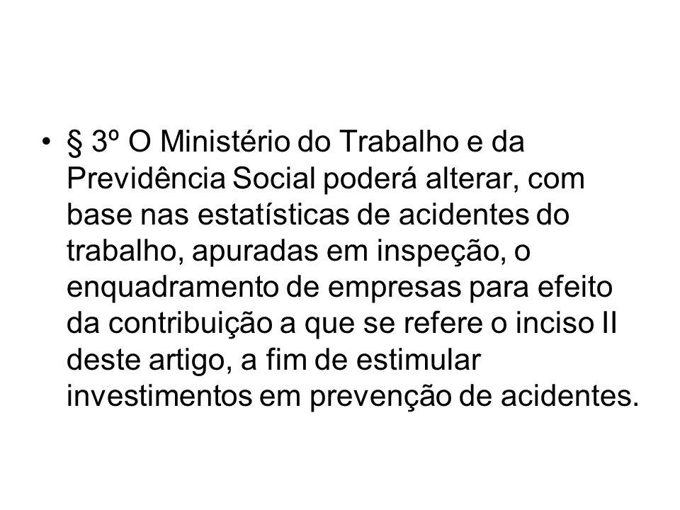 § 3º O Ministério do Trabalho e da Previdência Social poderá alterar, com base nas estatísticas de acidentes do trabalho, apuradas em inspeção, o enqu