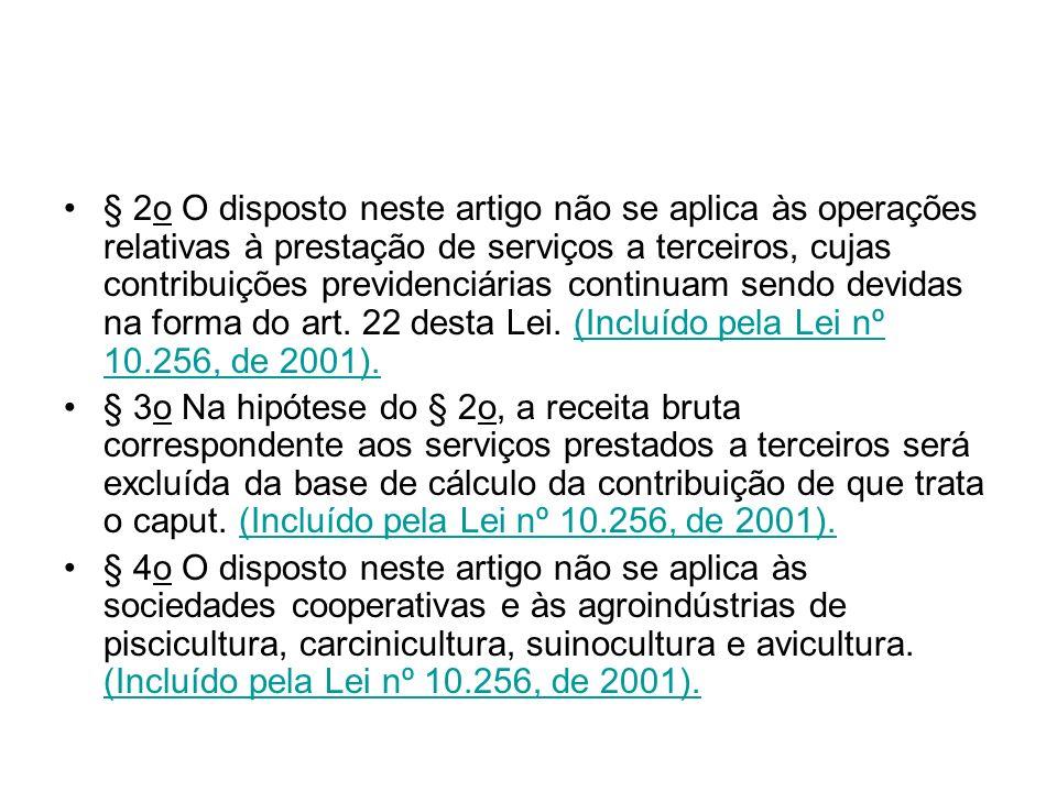 § 2o O disposto neste artigo não se aplica às operações relativas à prestação de serviços a terceiros, cujas contribuições previdenciárias continuam s
